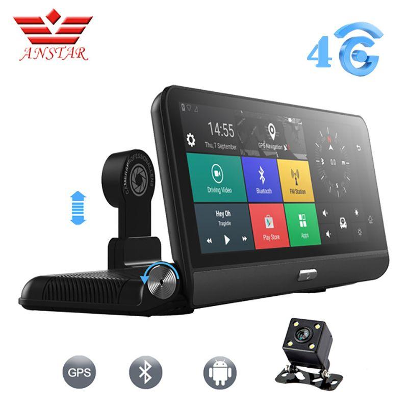 ANSTAR سيارة DVR كاميرا 8 المراقبة 3G / 4G الروبوت 5.1 FHD 1080P WIFI مسجل فيديو FM GPS وقوف السيارات عدسة مزدوجة داش كاميرا مسجل