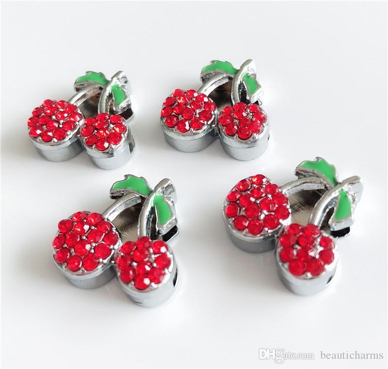 10PCS 10MM rosso strass Cherry Slide Charms Perline Fit 8mm FAI DA TE strisce di telefono Tags Pet colletto cinghie Bracciali