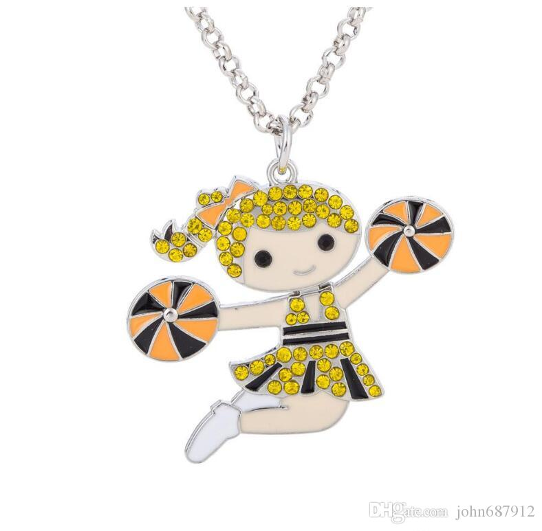 GX125 New Cute Cheer aerobics Cheerleading Girl Dancing Happy Girl Colorful Crystal Embedded Pendant Link Chain Necklace Best Gifts