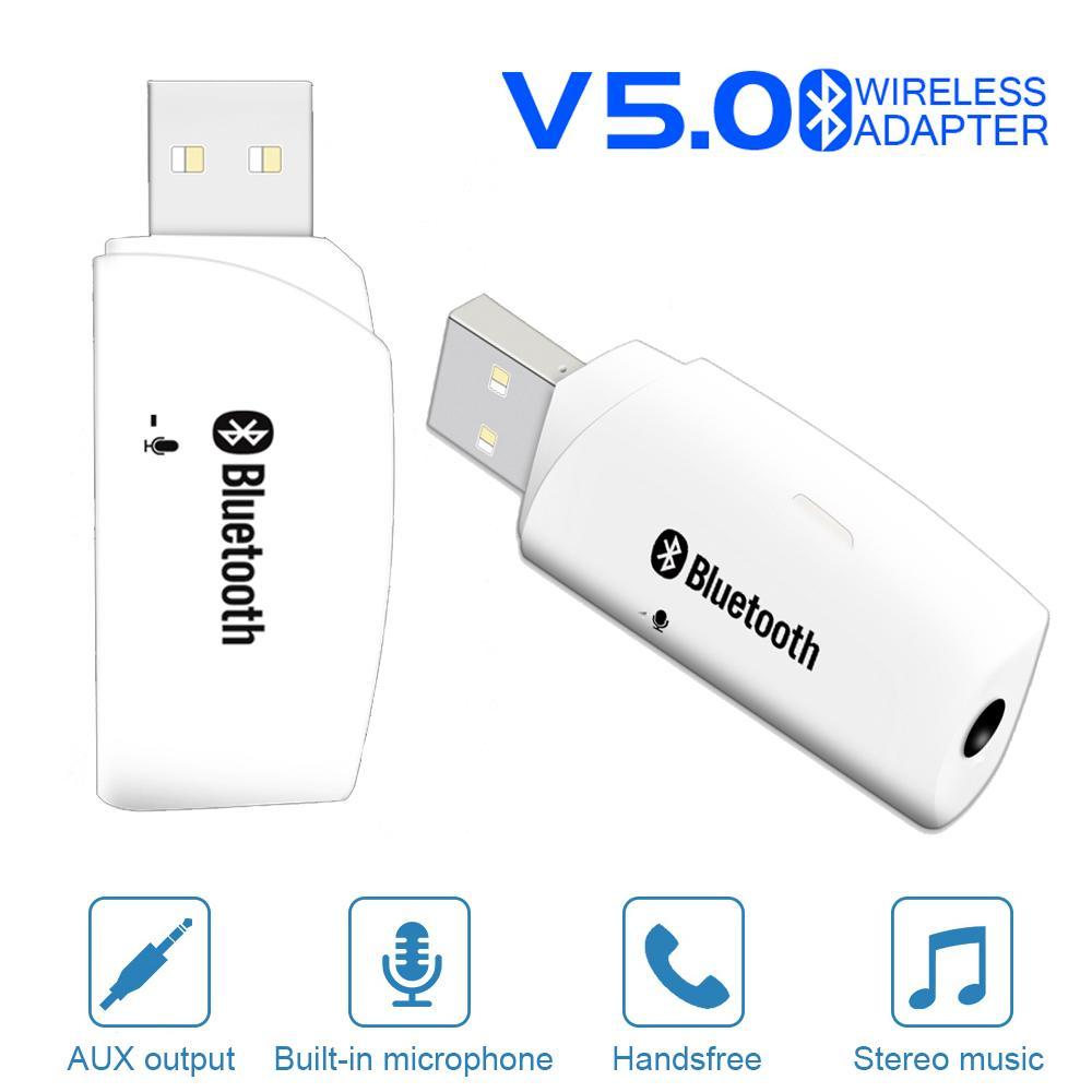 JINSERTA Автомобильная гарнитура Bluetooth 5.0 Audio Receiver 3.5 мм AUX USB с двумя выходами Стерео Аудио Адаптер Музыкальный плеер