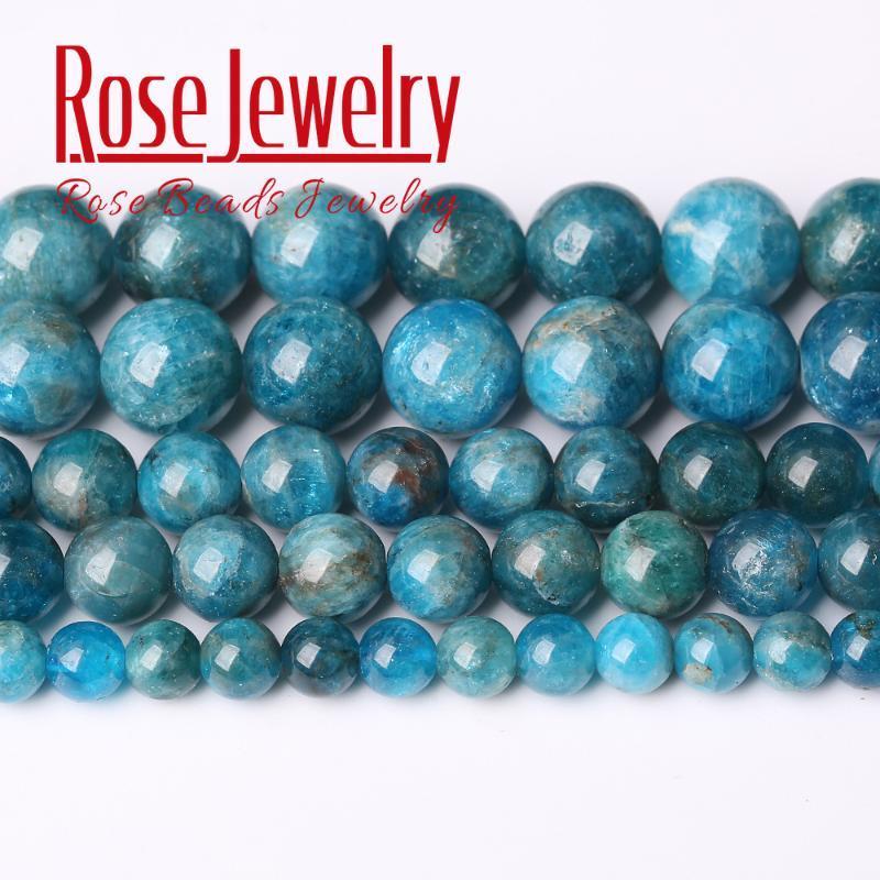 A + azul natural apatita Gem Stone Beads redonda lisa solta pérolas 15 '' 6/8/10 milímetros Para fazer jóias DIY Colar Pulseira Pingente