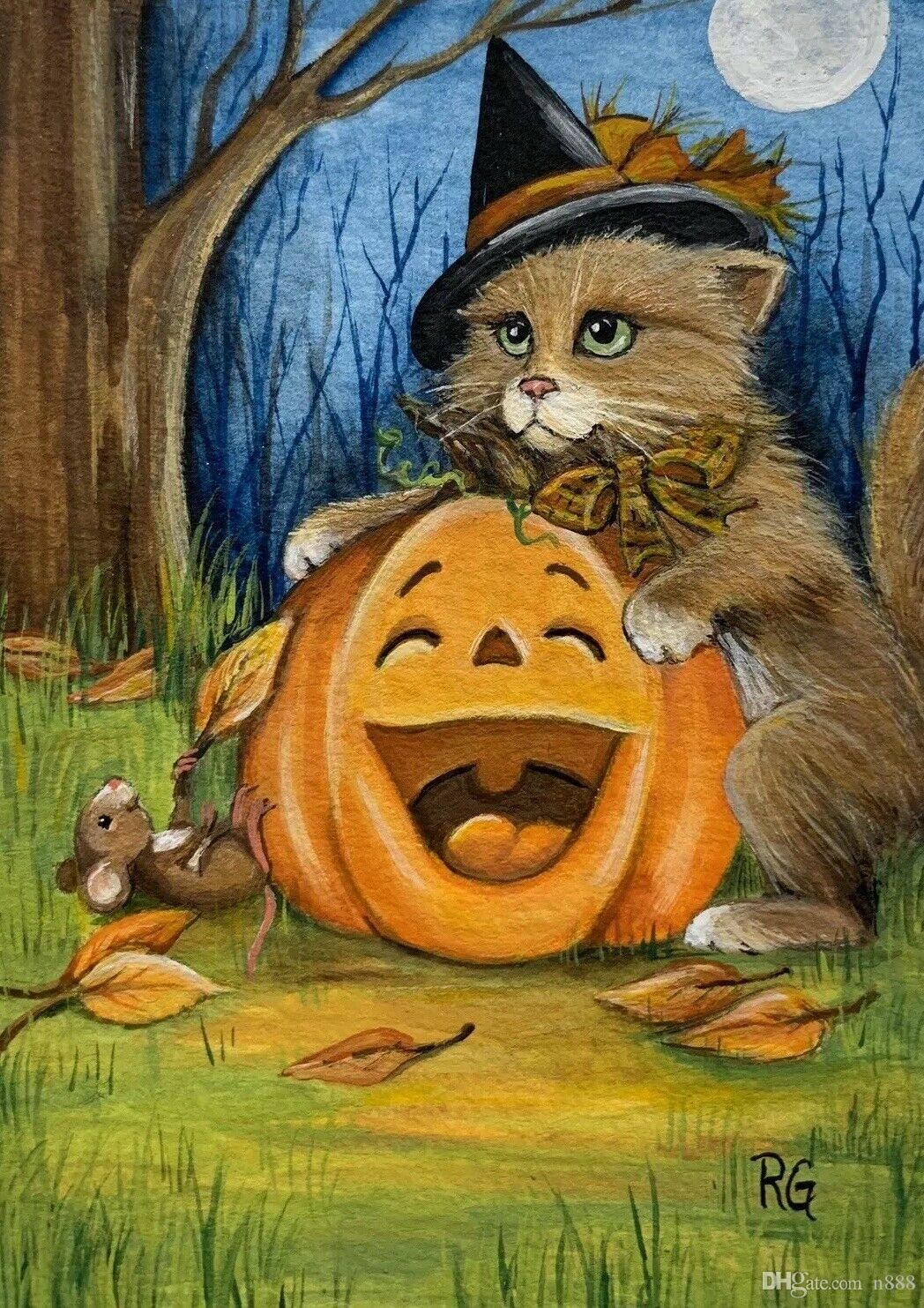 Oil Painting Art On Canvas Cat Witch Mouse Halloween Pumpkin Fall Leaves Autumn Wall Art Decor Large Picture