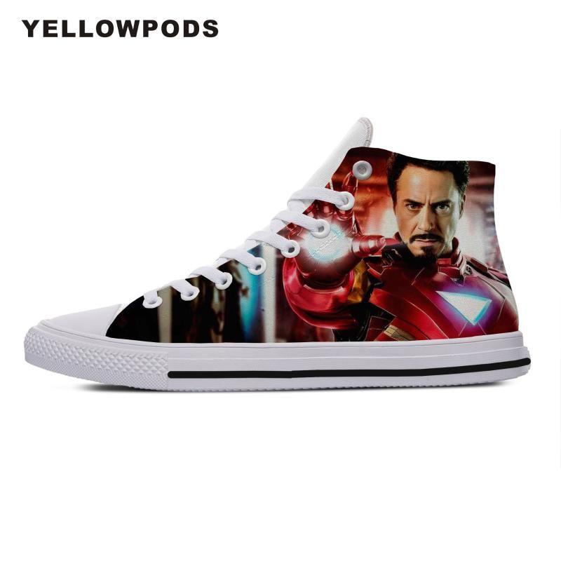 Men Walking Shoes personalizado seu próprio padrão / foto / imagem Endgame Homem de Ferro respirável homens Moda DIY seus sapatos