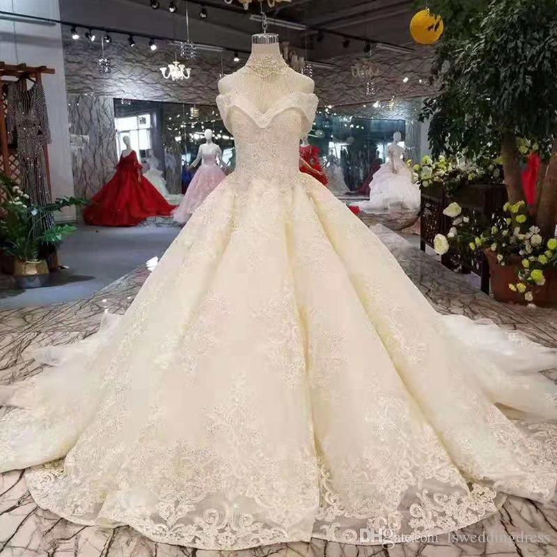 Luxury Off The Shoulder High Neck Wedding Dress With Collar Chain Ball Gown Appliques Sweetheart Hot Wedding Gown With Train Free Shipping