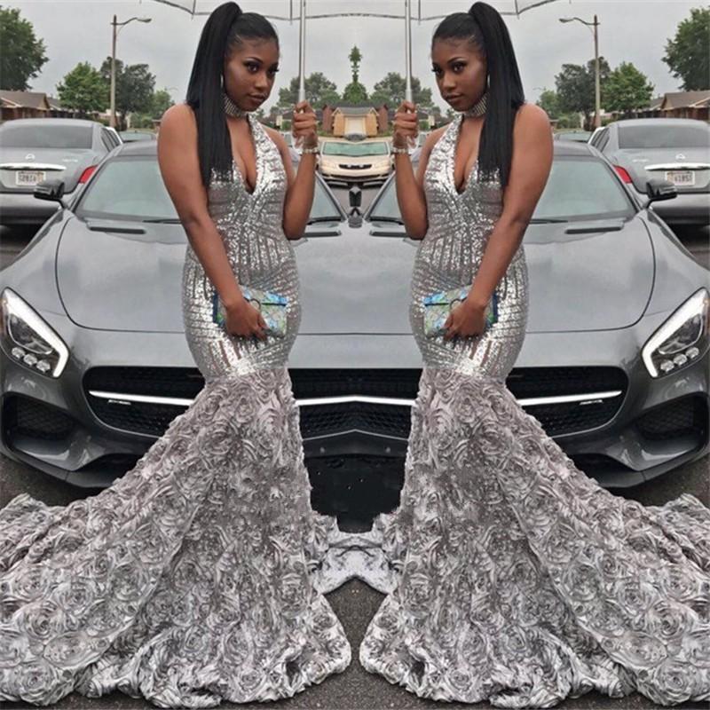 Paillettes argento Prom Dresses sirena 2020 fiori Handmade immerge con scollo a V sweep treno su ordine del partito degli abiti di sera formale Abbigliamento per occasioni