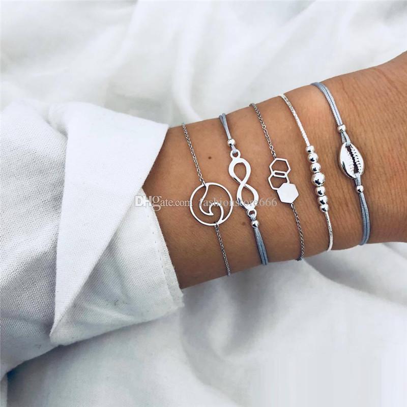 5Pcs/ Set Classic Beads Infinity Geometric Weave Multilayer Adjustable Open Bracelet Set Women Fashion Party Bohemian Jewelry
