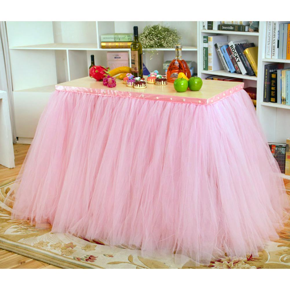 Yfashion Lots of Tulle Tutu Table Skirt Tulle Dinnerware for Wedding Decoration Wedding Party Table Baseboard Home Textile