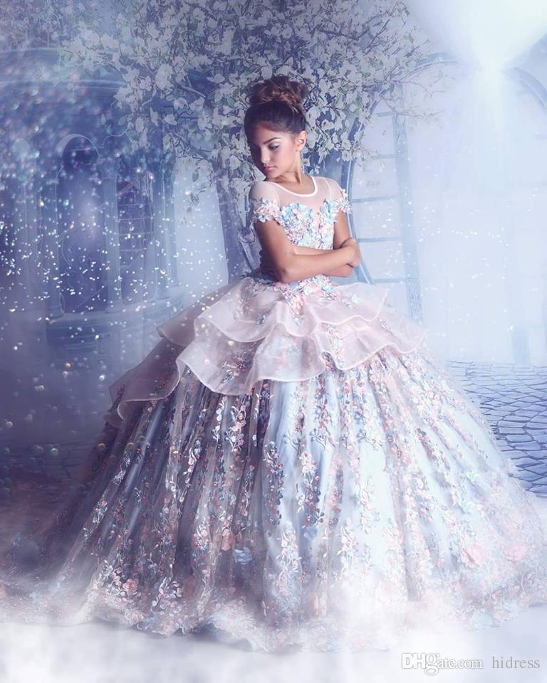 Sheer cou robes fille fleur en organza Little Girls Pageant Robes dentelle Princesse Applique enfants Robes de mariage de fleur perles robes fille
