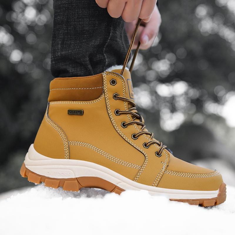 Bottes d'hiver d'homme antidérapante Wearable extérieur Big outillage de grande taille 48 Chaussures plus Martin Bottes de velours rétro hommes Tendance 2019
