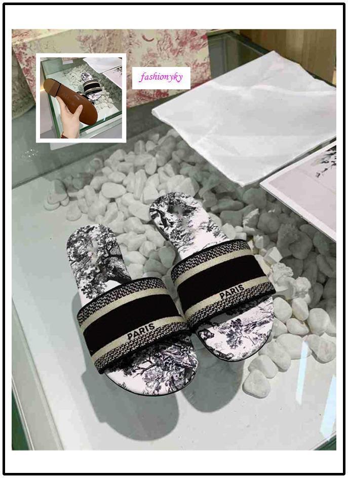 scatola originale Designer Shoes NUOVE donne pistoni di marca Sandali piatti diapositive Dazzle Flowers ricamo floreale a strisce Sandalo Beach Infradito