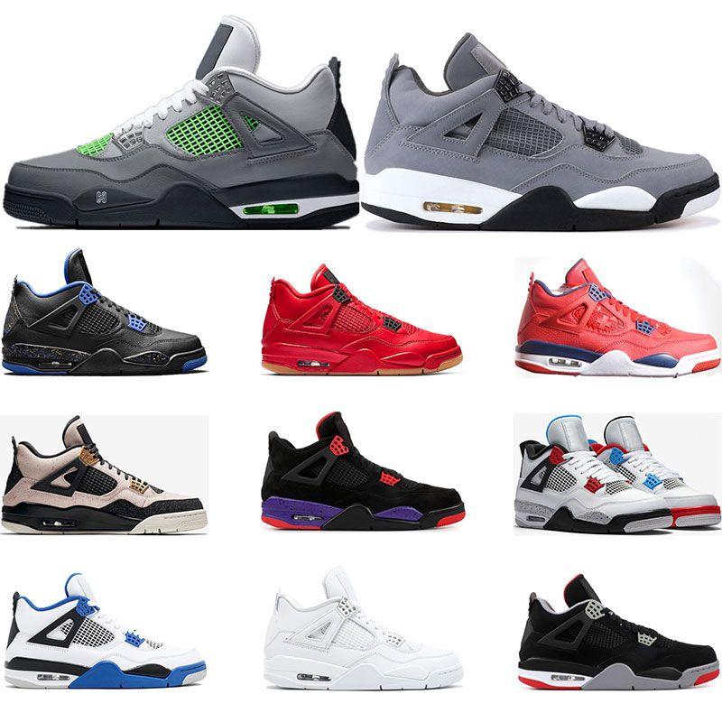 Serin gri SILT KIRMIZI PURE PARA KANATLARI traienrs boyutu 07-13 Nisan erkek spor ayakkabı yetiştirilen NE Nero FIBA 4s 2019 basketbol ayakkabıları