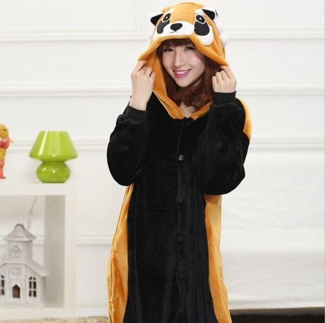 Cute Raccoon Bear animal Pajamas winter pijama cartoon cosplay pijamas unisex adults flannel Onesies women set Sleepwear robe
