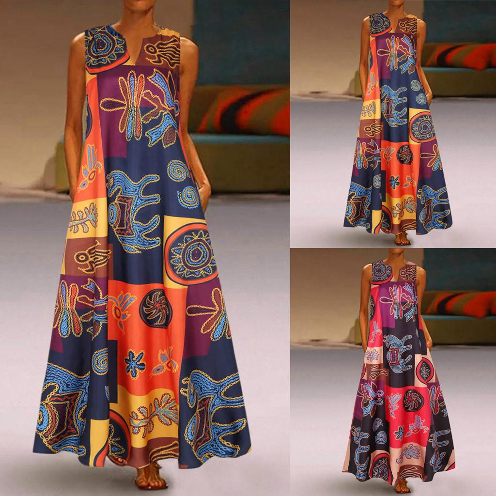 New Women Summer Dress Plus Size Print Daily Casual Sleeveless Vintage Bohemian V Neck Maxi Dress Female Fashion Vestidos