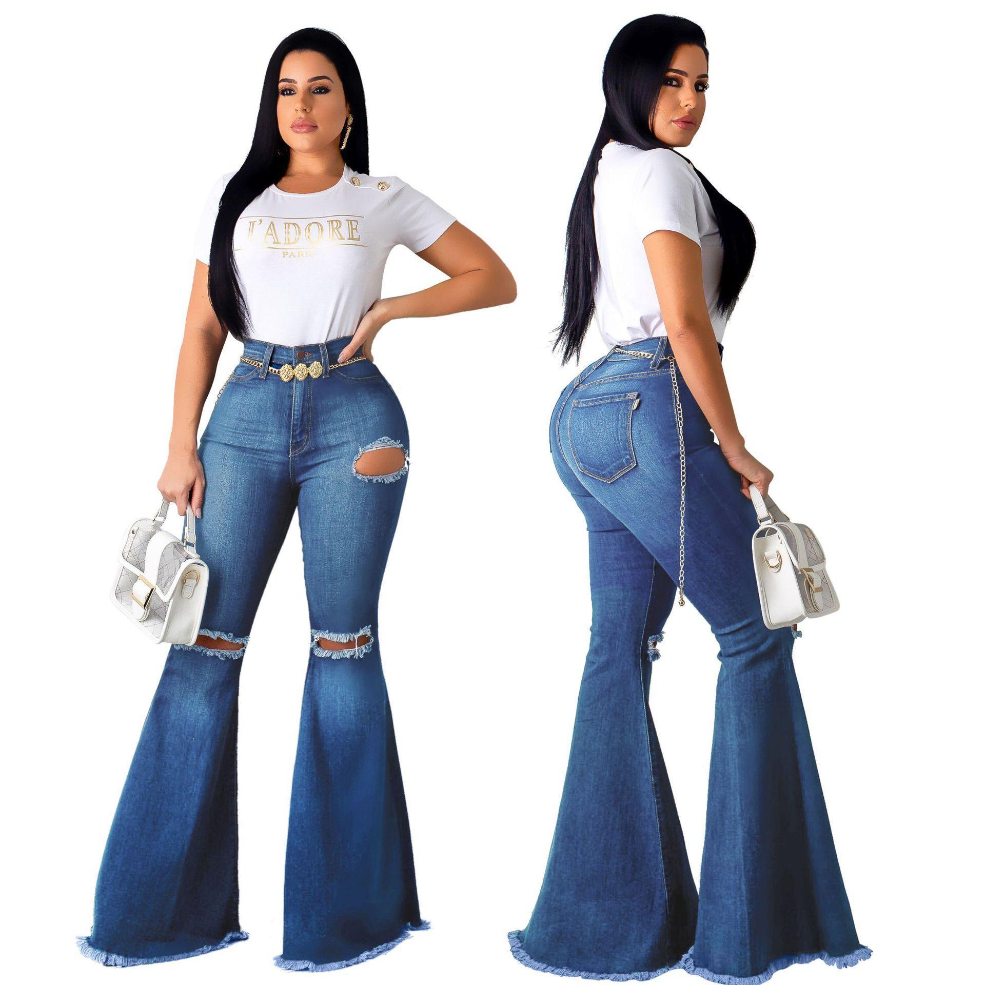 여성 높은 허리 Bodycon 데님 팬츠 고민 찢어진 플레어 데님 청바지 슬림핏 솔리드 블루 스키니 슬림 맞추기 세련된 플러스 사이즈 청바지