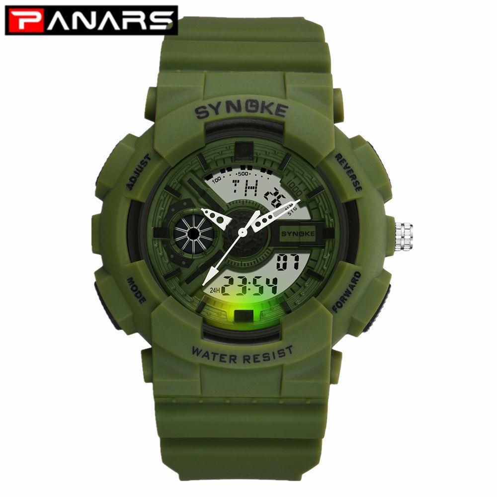 PANARS 2019 New Classic Sport Herrenuhr Multifunktions-Alarm EL-Leuchten LED-Doppel-Anzeigen-Digital-Armbanduhr für Männer