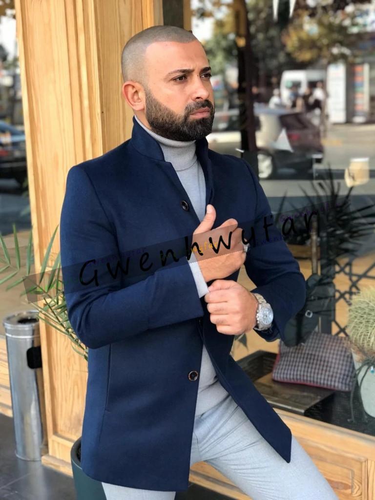 Bridalaffair의 부유층 맞춤 제작 트위드 울 네이비 블루 남성 전용 재킷 영국 스타일의 현대 재킷 1 개 조각 스키니 남성 정장에 맞게