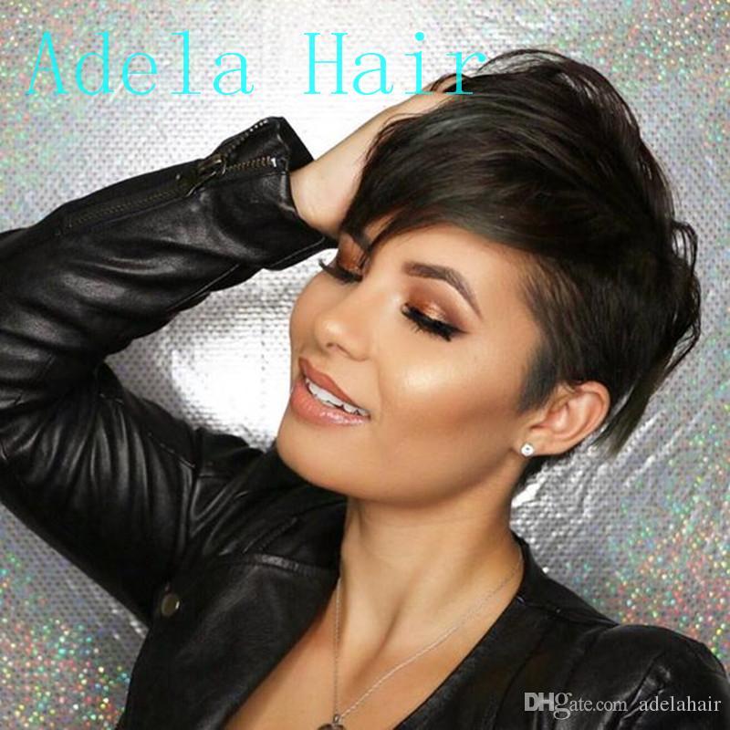 Perruques brésiliennes de cheveux humains machine perruques naturelles courtes perruques avec une frange aucun dentelle cheveux raides cheveux perruque pour les femmes noires