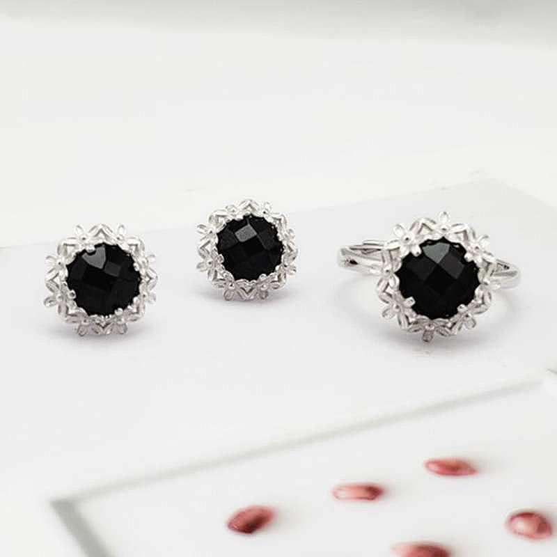 Ruifan F натуральный черный агат драгоценный камень серьги / кольца наборы мода стерлингового серебра 925 женщин свадьба комплект ювелирных изделий YJS037