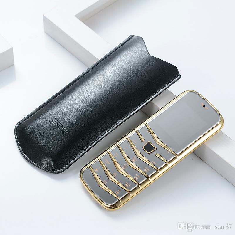 Unlocked V03 Bar Luxury Bluetooth Dial Metal Body Leather Senior Dual sim Card Mobile Phone Super Fashion Steel thin Cell phones