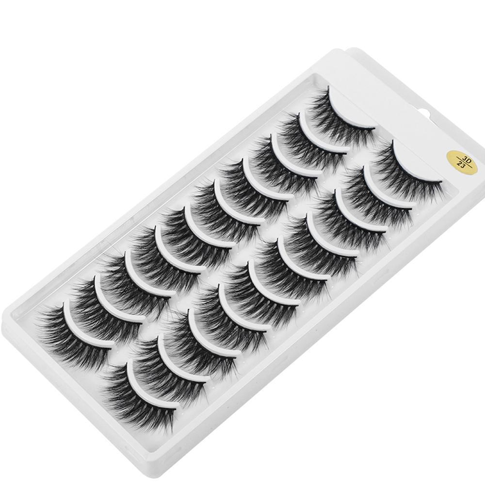 3D épais maquillage naturel Wispy Croisillon Cruauté Vison Cils Extenshion main Lashes 10 paires 100% Mink faux cils