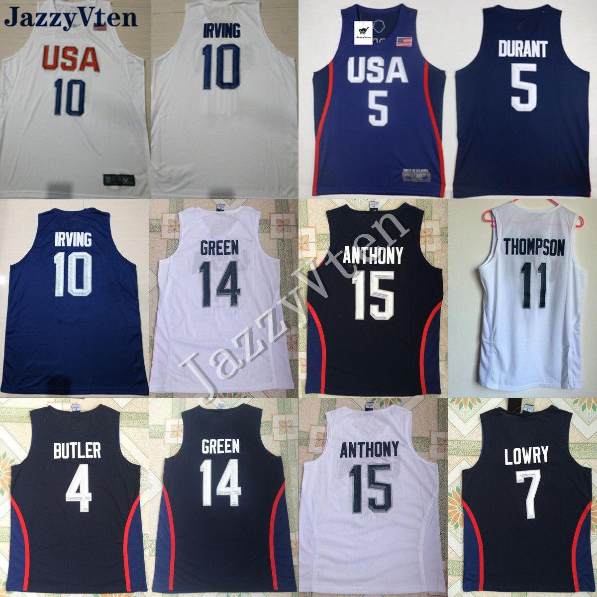 미국 팀 미국 농구 유니폼 리오 게임 George14 # 녹색 13 # 조지 7 # lowry 11 # 톰슨 10 # Irving 5 # Kevin Durant 4 # 집사