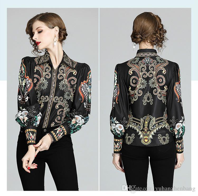 Lüks Pist Barok Kadınlar Uzun Kollu Yaka Boyun Bayanlar Düğme Şık Ofis Siyah Tasarımcı Gömlek Tops bluzlar Vintage Gömlek yazdır