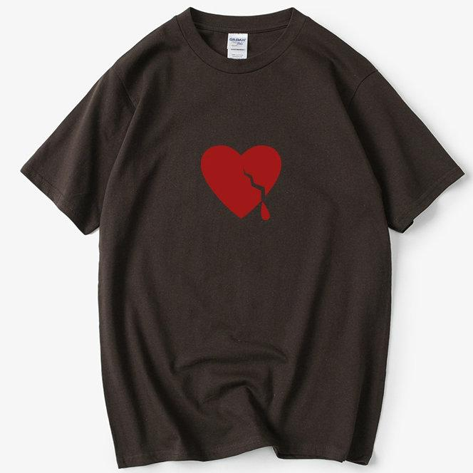 Sad t shirt Heart broken short sleeve tops Help brown tee Colorfast print gown Unisex clothing All color tshirt
