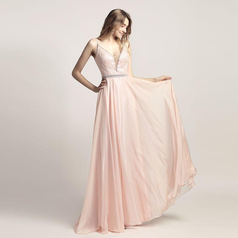 LX466 Blush Abendkleider einer Linie Fußboden-Längen-formale Abend Gelegenheit Partei Kleid Roben de soirée