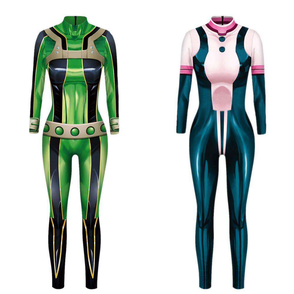 El tamaño asiático 3D de disfraces de Halloween mi héroe Academia ASUI Tsuyu mujeres cosplay OCHACO URARAKA Zentai Mono atractivo batalla Body Catsuit Yoga