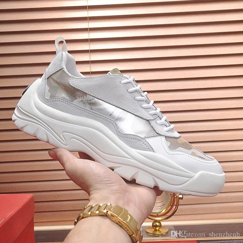 Valentino Lüks erkek Spor Ayakkabı Satış Hızlı Teslimat Yüksek Kalite Tıknaz Sneakers Açık Yürüyüş Gumboy Dana Derisi Sneaker Dantel-up Düşük Üst Ayakkabı