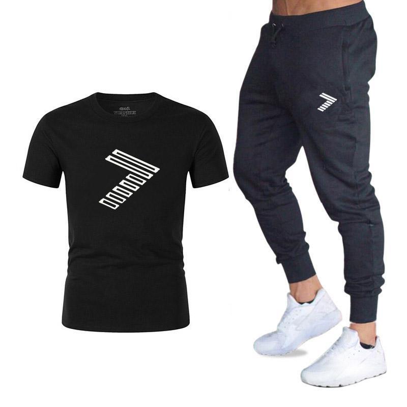 Men Gym Run Jogging Football TrackSuit T Shirt Sport Suit Sets Pants 6 Colors