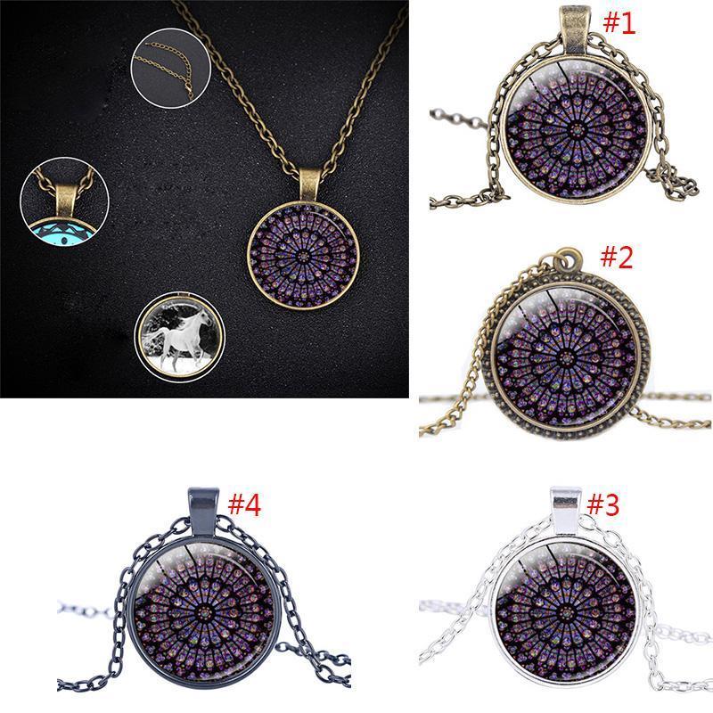4 стиль Нотр-Дам де Пари ожерелье Парижский Собор Мужчины и женщины многоцветный витраж сплава ожерелье