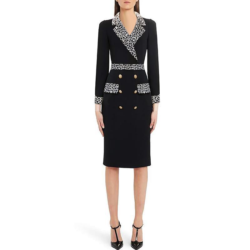 2019 осень синий Colorblock пояса кнопки двубортный 3/4 рукав V шеи мода взлетно-посадочной полосы платья Vestidos 9N12YDY10D