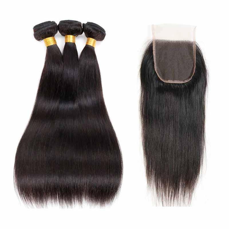Brésilien Vierge Cheveux raides vague de corps Cheveux Weave 3 Bundles avec dentelle fermeture ou Frontal pas cher Remy Human Hair Extensions droite