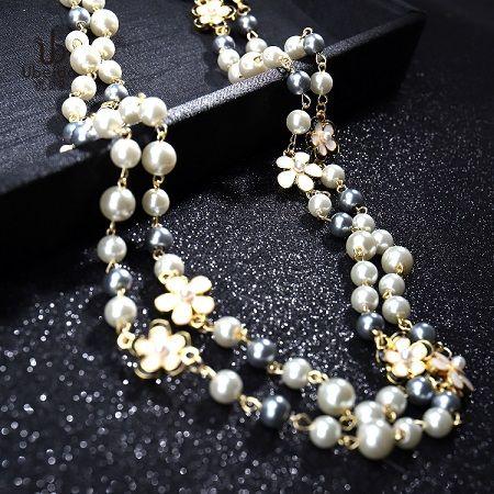 Новая мода роскошный дизайнер красивые цветы классический элегантный жемчуг многослойный длинный свитер заявление ожерелье для женщины