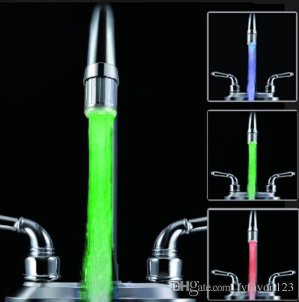 أحادي اللون بالماء الخفيف و7 ألوان الصمام دش الأنوار رئيس الوهج LED الحنفية مع محول للحصول على معظم صنبور المطبخ الحمام الحنفية J41