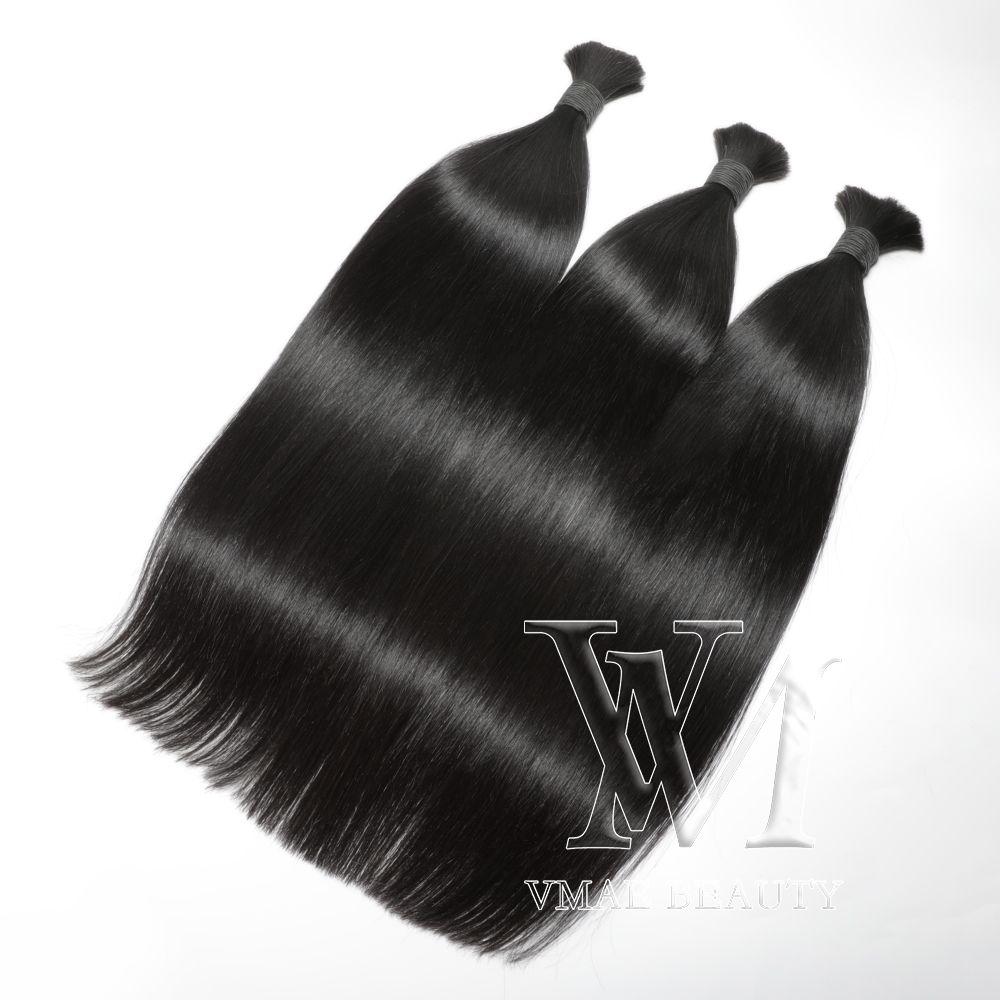 """VMAE البرازيلي مستقيم اللون الطبيعي الشعر السائبة 100٪ الخام غير المجهزة الإنسان تجديل واحد مزدوج مرسومة 100 جرام / قطعة 3pieces 14pieces 14 """"إلى 26"""""""