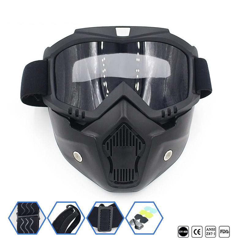 Designer-Dirt Bike Motorcycle Riding Goggles Cycling Face Mask Motocross Bicycle Off-Road Vehicle Ski Detachable Goggle