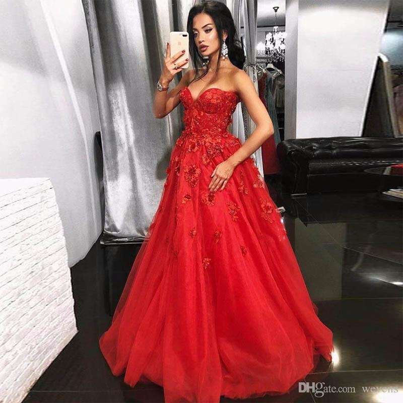 Red A-line 3D Flower Homecoming Dresses Sweetheart Lace Appliques Organza Graduation Dress Sweep Train Tiered Party Gowns