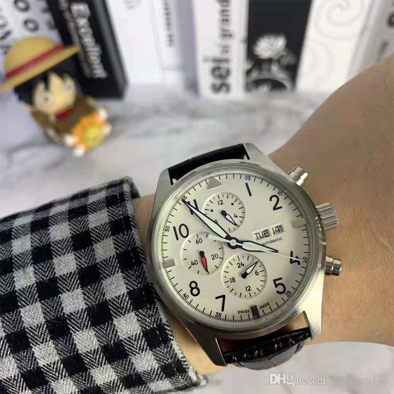 Марка Лучшие мужские часы Pilot Спорт часы кожаный ремешок швейцарские часы Aviator Relogio Календарь Мужчина для автоматического движения Часы наручные