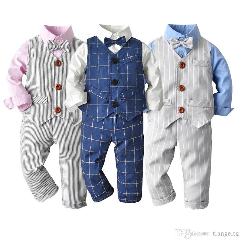 Junge Stripe Kleidung Sets 3 Designs Bow Tie Knot Hemd Streifen Shorts Knopf Streifen Hosen-Kind-Kleidung-England-Art 3M-3T 04
