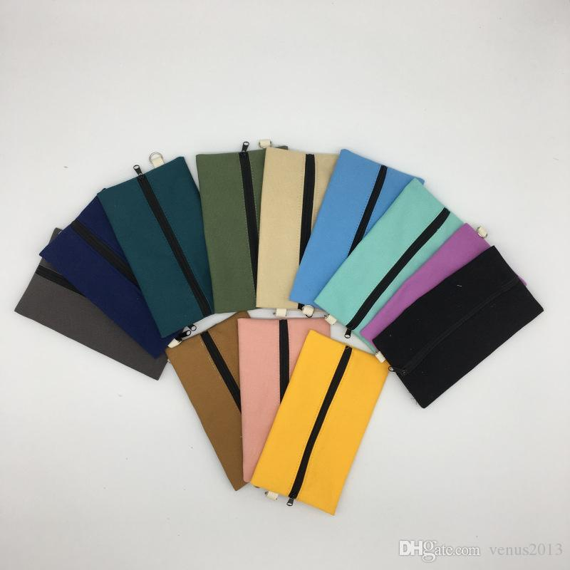 Venta caliente Lienzo Cremallera Estuches de lápices bolsas de algodón bolsas de cosméticos bolsas de maquillaje teléfono móvil organizador del bolso de embrague