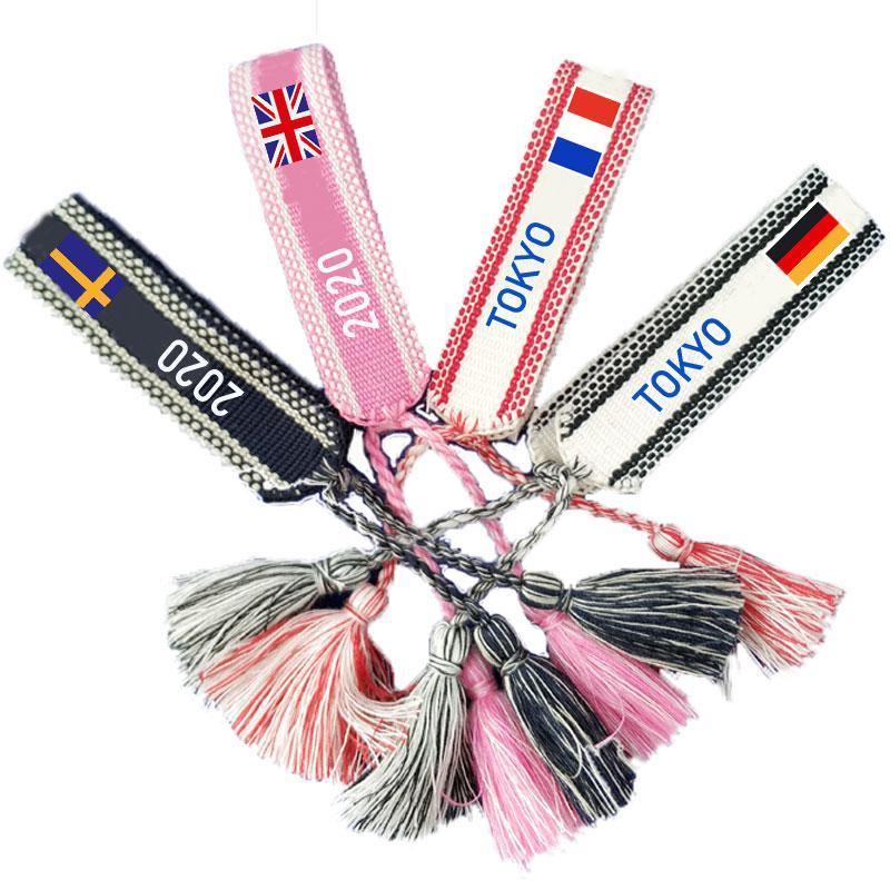 2020 Токио Олимпийских игр браслет ODM роскошь дизайнер драгоценность сплетенный браслет высокого качества Вышитые Lovers Браслет конструктора