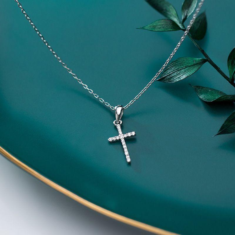 Genuina plata de ley 925 CZ cristal colgante cruz collar de gargantilla para muchachas de las mujeres de lujo de plata esterlina Bijoux regalo