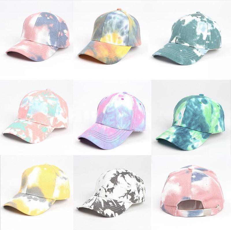 Moda del teñido anudado de las gorras de béisbol colorido ajustable del Snapback sombrero al aire libre Deportes de Hip Hop de entretenimiento Sombra Sombrero DDA103