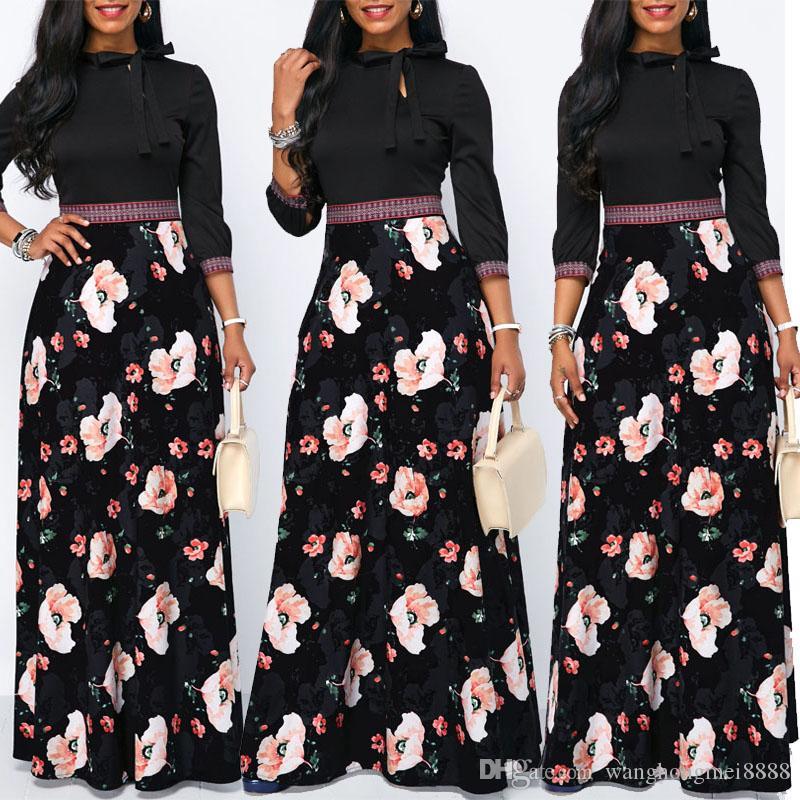 المرأة ماكسي اللباس الربيع الأزهار طباعة بوهو نمط عطلة اللباس عارضة طويلة الأكمام حزب ارتفاع الخصر اللباس vestidos زائد الحجم