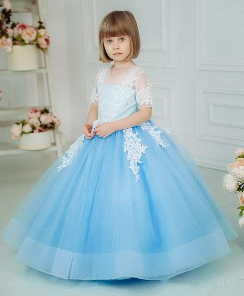 Dantel Appliuqes Bow V-Geri Yarım Kollu Custom Made kızlar Yarışması törenlerinde ile Güzel Yüksek Kalite Tül Çiçek Kız Elbise