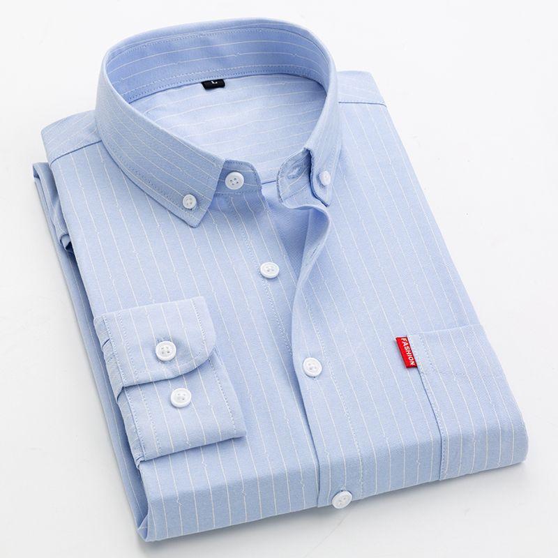 بالاضافة الى حجم كبير 5XL 4XL رجال الأعمال عارضة قميص بأكمام طويلة كلاسيك مخطط اللباس ذكر الاجتماعية قميص بنفسجي أزرق