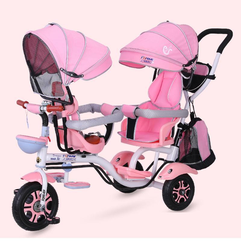 4 في دراجة ثلاثية مزدوجة المقعد 1 التوأم Babby عربة الأطفال دراجة الطفل الرضيع الطفل TrolleyTravel مظلة Carriage1-6Y
