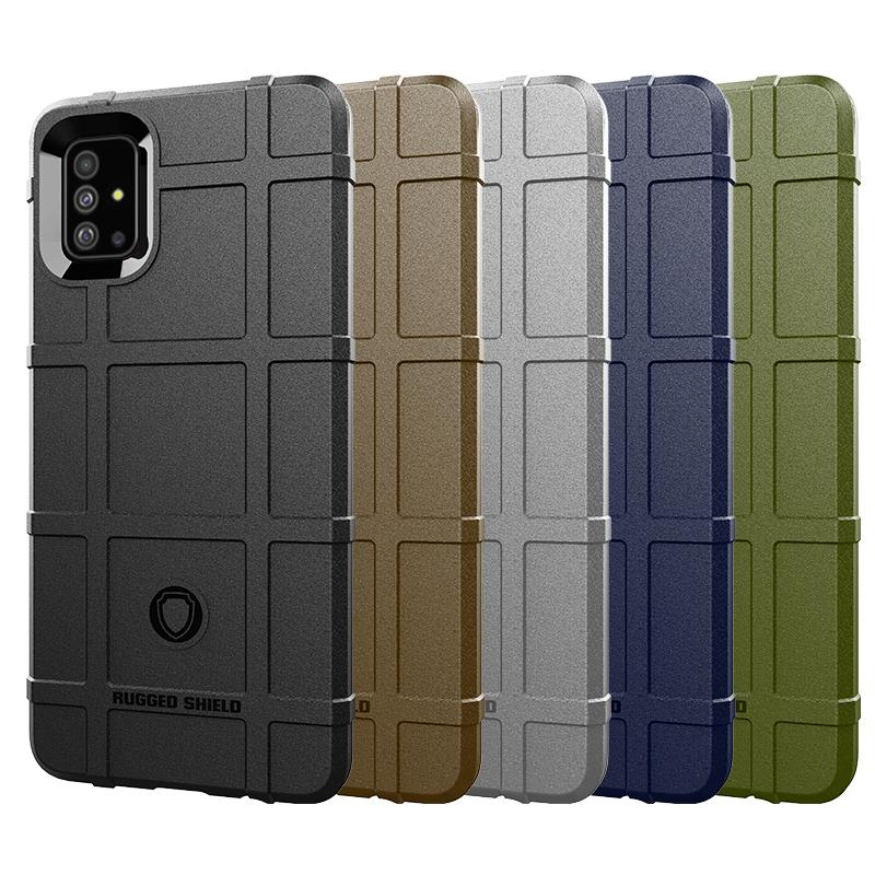 Full Coverage Shockproof Soft Silicone Case Armor Matte Cover Anti Knock Shell for Samsung A51 Heavy Duty Army Style